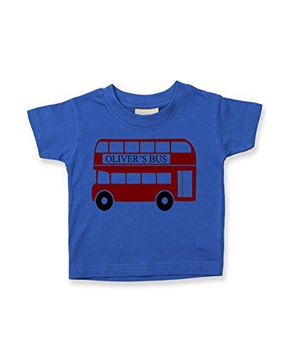 Ice-Tees T-shirt à personnaliser en coton doux pour bébé garçon Motif bus rouge avec prénom - Bleu - 6-12 mois