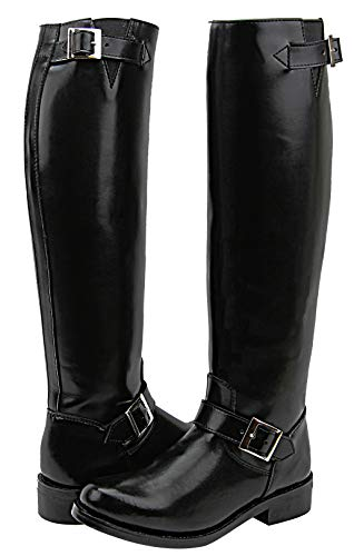 FAMMZ Raven Men's Mens Man Motorcycle Highway Police Engineer Trooper Patrol Leather Tall Riding Boots Color Black