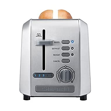 Chefman 2-Slice Stainless Steel Wide Slot Toaster Defrost w/ 5 Shade Settings Quickly Toasts Muffins, Waffles,Bagels, Bread