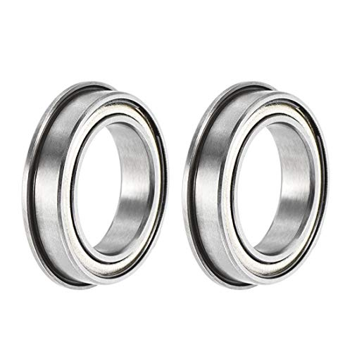 sourcing map F6701ZZ Flanged Ball Bearing 12x18x4mm Double Shielded ABEC-3 Chrome Steel Bearings 2pcs