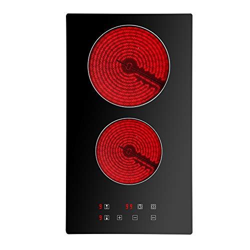 Doble vitrocerámica eléctrica, doble placa de cocción de cerámica – (3000 W, 2 fuegos, enrastrable, integrado, Autarkic, táctil, temporizador, cristal y cerámica) – Doble zonas