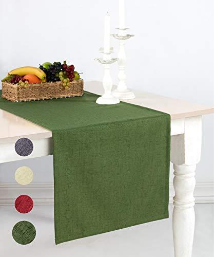 pamuq® Tischläufer Weihnachten Leinen-Optik | 48x160 cm | abwaschbar & fleckenabweisend | Tischdecke Table Runner Läufer Tisch-Deko Tischband Tafeltuch Tischtuch Tischwäsche (Oliv-grün)