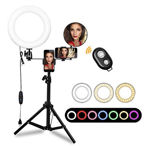 Morpilot Anillo de Luz LED Ring Light 10 Pulgadas Aro de Luz con Trípode Soporte Movil y Espejo, 3 Modos de Luces, 3200-5600K para Selfie Maquillaje Fotografia Youtube Tik Tok Videos