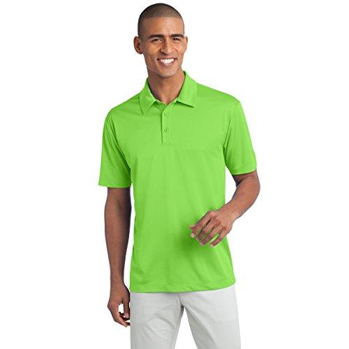 Mens Short Sleeve Moisture Wicking Silk Touch Polo Shirt, M, Lime