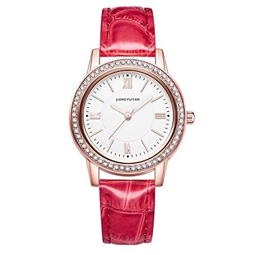 ZHANGYOUDE 1665JIAYUYAN Moda Mujer Cuarzo Reloj con Banda de Cuero PU y Caja de Reloj de aleación (Color : Red)