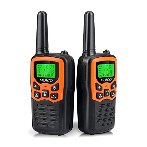 Walkie Talkies,MOICO Walkie Talkies for Adults,Walkie Talkies Long Range with 22 Channels FRS VOX LCD Display with LED Flashlight for Biking Hiking Camping(Orange)