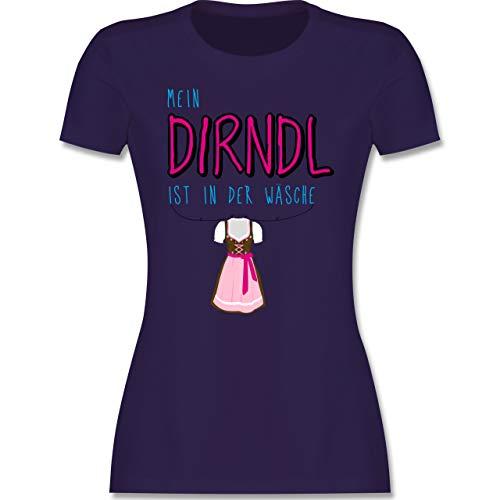 Oktoberfest & Wiesn Damen - Mein Dirndl ist in der Wäsche - XXL - Lila - Shirt Oktoberfest Damen - L191 - Tailliertes Tshirt für Damen und Frauen T-Shirt