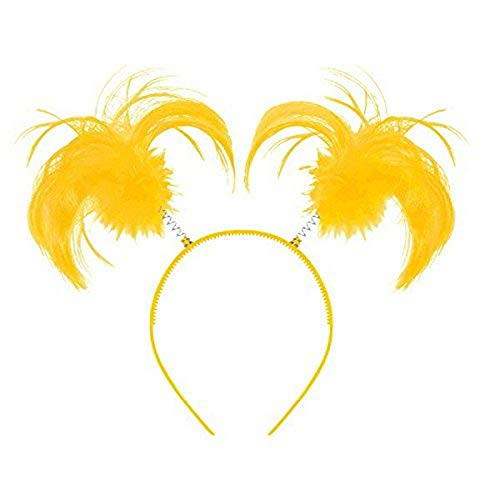 "Amscan Tinsel Wrapped Ponytails Headbopper Accessory, Yellow, One Size Party Hats, 8"" x 5"""