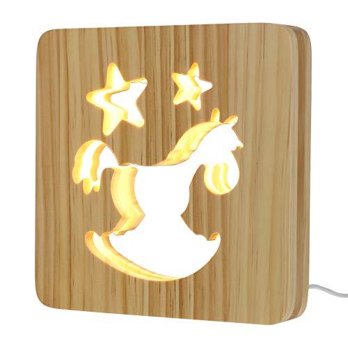 OSALADI Lâmpada Com USB de Carregamento De Madeira Cavalo de Tróia Cavalo 3D 3D Luz Da Noite Criativo Lâmpada de Cabeceira para Crianças Amante Do Cavalo Quarto Decoração