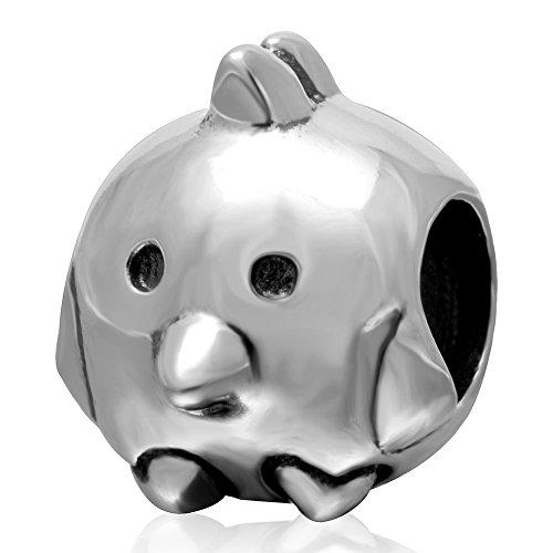 Animal charms Authentic plata de ley 925Lovely pollo Bead para 3mm Abalorios Pulsera