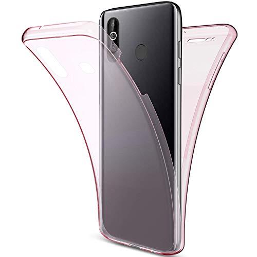 Uposao Kompatibel mit Samsung Galaxy A60 Hülle 360 Grad Handyhülle Vorne und Hinten Schutzhülle Transparent Silikon Handyhülle Komplett Front Back Double Beidseitiger Cover,Rose Gold