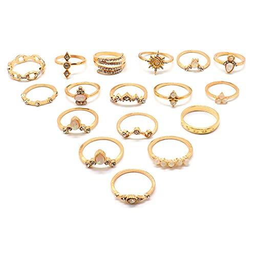 Damenmode, Gold, verschiedene Formen Geometrie Ring Set, Fesvital Schmuck Ring, Damenring, vergoldet, Roségold / Silber / Gold