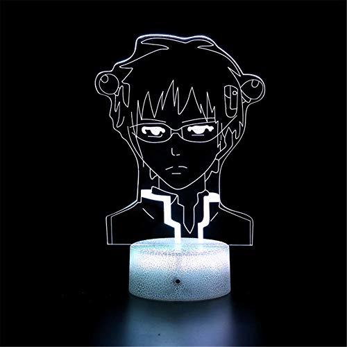 3D ilusión LED lámpara 3D noche luz Miki Saiki USB alimentado 16 colores intermitente interruptor táctil dormitorio decoración iluminación para niños regalo de Navidad