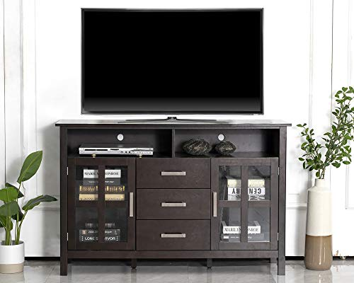 CHADIOR Wood TV Stand for TVs up to 60 Inch, Farmhouse TV Entertainment Center with Storage Shelves and Cabinets with Glass Doors, 53 Inch Wide Tall TV Media Stand TV Console Table, Espresso
