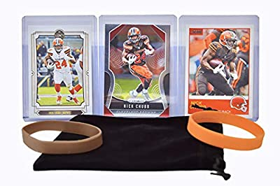 Nick Chubb Football Cards (3) Assorted Bundle - Cleveland Browns Trading Card Gift Set
