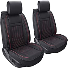 Aierxuan 2pcs Car Seat Covers Front Set with Waterproof Leather,Airbag Compatible Automotive Vehicle Cushion Cover Universal fit for Most Cars (Black and Red)