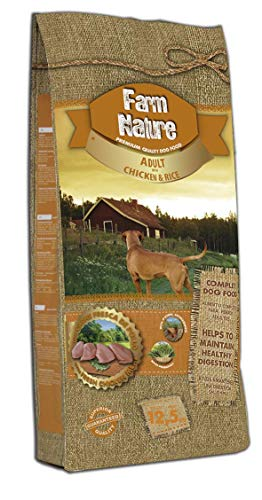 Farm Nature Pienso seco para Perros. FN Pollo con Arroz - Todas Las Razas - 12,5 kg