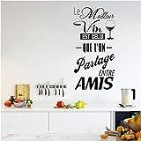 Le Vin Est Le Vin Que Nous Partageons Avec Des Amis Stickers Muraux 29X56Cm