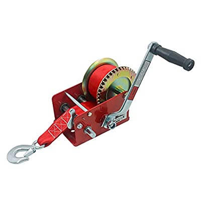 OPENROAD 2500lbs Boat Hand Winch, Boat Trailer Winch with 10M Red Strap,Crank Hand Winch Pulling Winch for Boat ATV/UTV