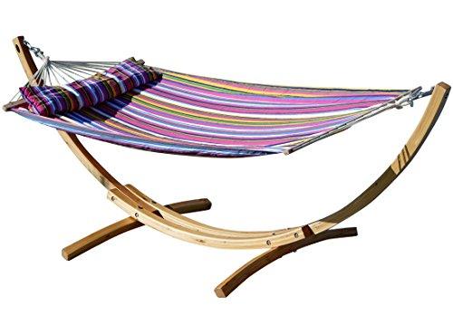 AS-S 320cm XL Limited Edition Cadre de hamac en Bois de mélèze avec hamac et des vis en Acier Inoxydable tapissés Blanca-LIM-Pink