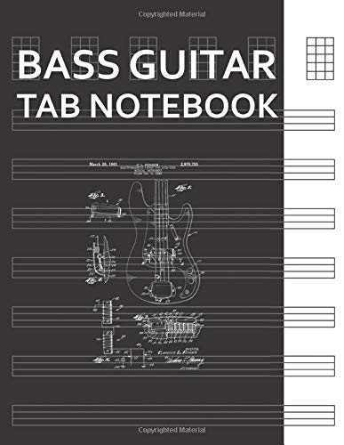 Bass Guitar Tab Notebook: Vintage Patent Print 1961 Rock Bass Guitar Blank Tablature Writing Paper with Chord Fingering Charts. Electric Guitarist Manuscript Tabs Book Journal.