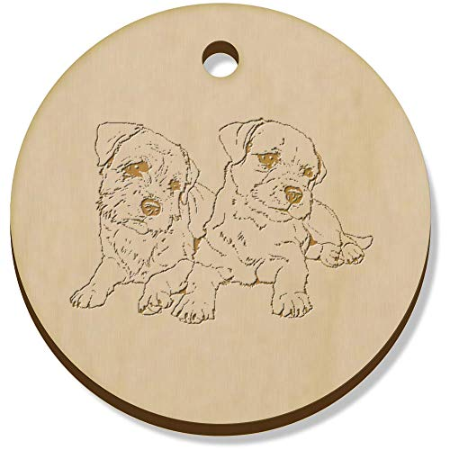 Azeeda 11 x 34mm 'Border Terriers' Wooden Pendants / Charms (PN00062137)