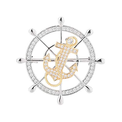Rotatable Zircon Badge Brooch, Suit Accessories, Anchor And Rudder Corsage
