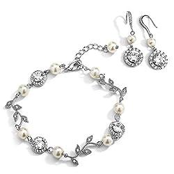 Silver Vine & Ivory Pearl Bracelet & Earrings Set