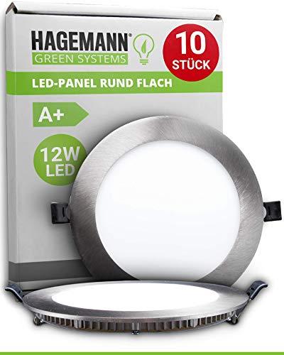 HAGEMANN® 10 x LED Panel rund 12 Watt 850lm – Ø 155mm Bohrloch – flach 230V LED Deckenleuchte