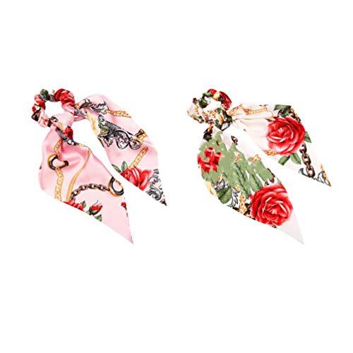 Minkissy 2 stuks haarelastiekjes elastische paardenstaarthouder geknoopt hoofdband bedrukt haarelastiekjes sjaal haar touw hoofdtooi dames vrouwen haaraccessoires 43,5 x 15 x 2 cm roze, wit