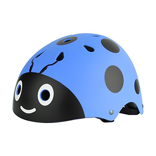 iiniim Casco de Protección Seguridad Mariquita Escarabajo para Niños Unisex Casco Infantil Mono Ajustable Dibujo Animado para Ciclismo Patinaje Sobre Ruedas Bicicleta Azul One_Size