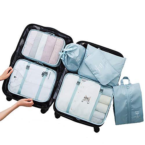 Suiyue Tech. Organizer Valigia Set di 7,Organizzatori da Viaggio Cubi di Imballaggio Lavanderia Sacchetto dei Bagagli Compressione Sacchetti Bag per i Vestiti Cosmetici Scarpe Intimo