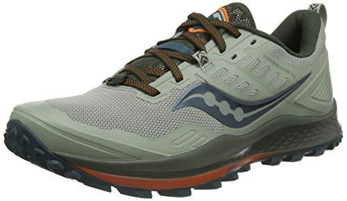 Saucony Men's Peregrine 10 Trail Running Shoe, Pine/Orange, 10.5 UK