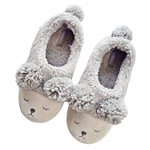 Minetom Zapatillas De Estar Casa Mujer Interior Exterior Algodón Slipper Cómodo Antideslizante Zapatos Planos Invierno Dibujos Animados Lindo 02 La Oveja Gris 38-39 EU