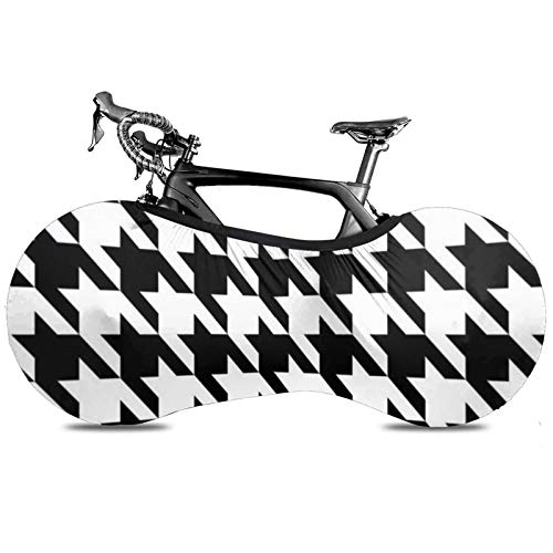BYTKMRY Houndstooth Black Bicycle Wheel Cover, Anti-Dust Bike Indoor Storage Bag Scratch-Proof Washable High Elastic Tire Package Fit All Bicycles Protective Gear Garage