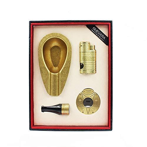 FBJN 2 Farbe Edelstahl Cutter zigarre feuerzeug Set Zigarre Halter aschenbecher Zubehör für Geschenk,Gold