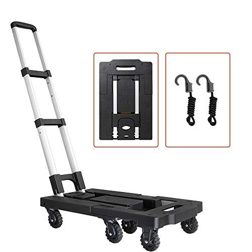 Pansonite Folding Luggage Cart with 330 Lb Capacity, Portable Aluminum Hand Truck and Dolly with 7 Wheels and 2 Free Rope for Luggage, Travel, Moving, Shopping, Office Use