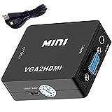 LPWCAWL Convertidor de VGA a HDMI, Adaptador de VGA A HDMI, Convertidor de Señal De Audio y Video VGA a HDMI con Cable USB y Puerto De Audio De 3,5mm, Adecuado para PC/Proyector/TV