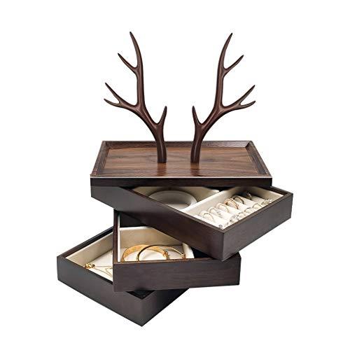 Jewelry Box Joyero Estuche De Almacenamiento De Joyería Dividido Simple De Estilo Japonés Percha De Joyería De Tres Capas con Esquina (Color : Brown, Size : 26×16×33cm)