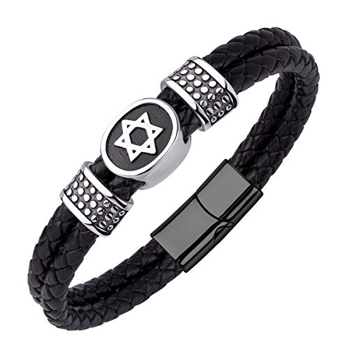 555Jewelry Stainless Steel Star of David Braided Leather Bracelet for Men black