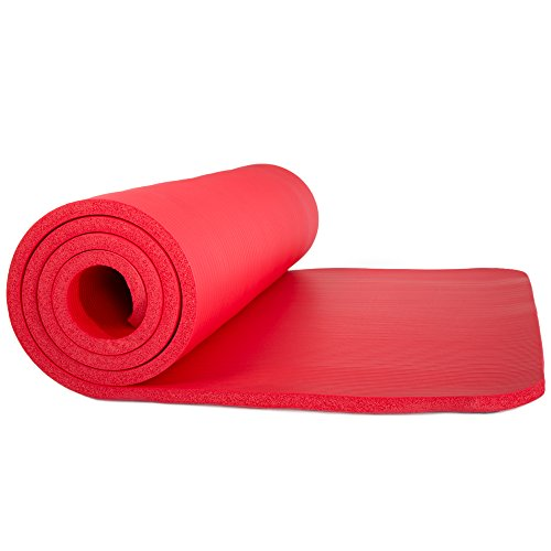 Wakeman Sleeping Pad, Lightweight Non Slip Foam Mat with Carry Strap Outdoors (Thick Mattress for Camping, Hiking, Yoga and Backpacking) (Red)