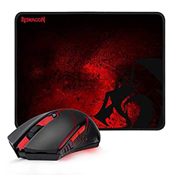 Redragon M601-WL-BA Wireless Gaming Mouse and Mouse Pad Combo Ergonomic MMO 6 Button Mouse 2400 DPI Red LED Backlit & Large Mouse Pad for Windows PC Gamer  Black Wireless Mouse & Mousepad Set
