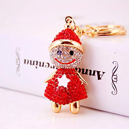 Lovely Smile Snowman Yeti Key Chains Rings Holder Crystal Star Lucky Gift Bag Pendant Keyrings Keychains For Car