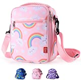 Kids Lunch Box for Girls Insulated lunch Bag Pink Cute Lunch Cooler Thermal Meal Lunch Tote Bag with Shoulder Strap and Pocket, Rainbow, Practical Gift