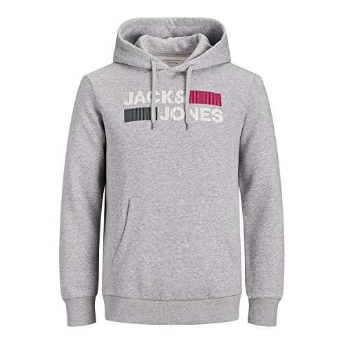 JACK & JONES PLUS JJECORP Logo Sweat Hood Noos PS Pullover, Gris Clair chiné, 4XL Homme
