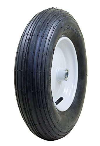 "Marathon 4.80/4.00-8"" Pneumatic (Air Filled) Tire on Wheel, 3"" Hub, 3/4"" Bearings, Ribbed Tread"