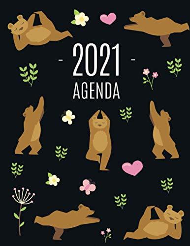 Oso de Yoga Agenda 2021: Planificador Annual | Enero a Diciembre 2021 | Ideal Para la Escuela, el Estudio y la Oficina