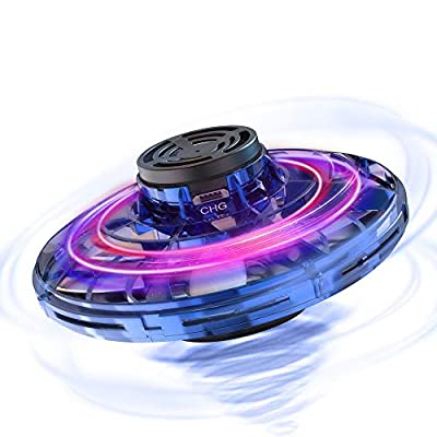 FlyNova The Most Tricked-out Flying Spinner, Hand Controlled Mini Drone for Kids And Adults, Scoot Hands Free Helicopter with 360° Rotating and Shinning LED Lights (Blue)