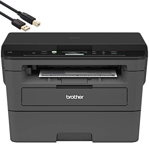 Brother Compact Monochrome Laser Printer - HLL2390DW - Convenient Business Office Flatbed Copy & Scan, Wireless Printing, Duplex Two-Sided Printing - BROAGE 6 FT USB Printer Cable
