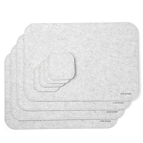 LARS NYSØM Tischset AMBIENCE I 8 Teiliges Filz Platzset bestehend aus 4 x Tischet und 4 x Glas Untersetzer I Abwischbare Tischunterlage für 4 Personen I Premium Platzdeckchen